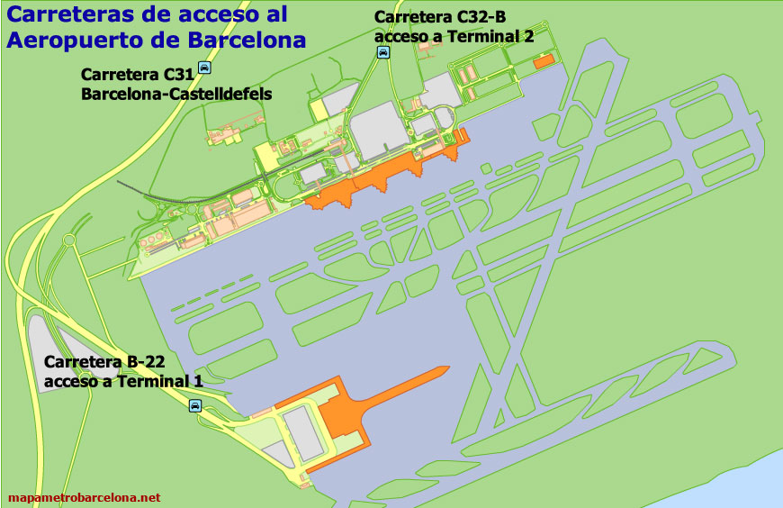 Spanish Metro Map.Map Of Barcelona Airport Location Directions Terminals Etc