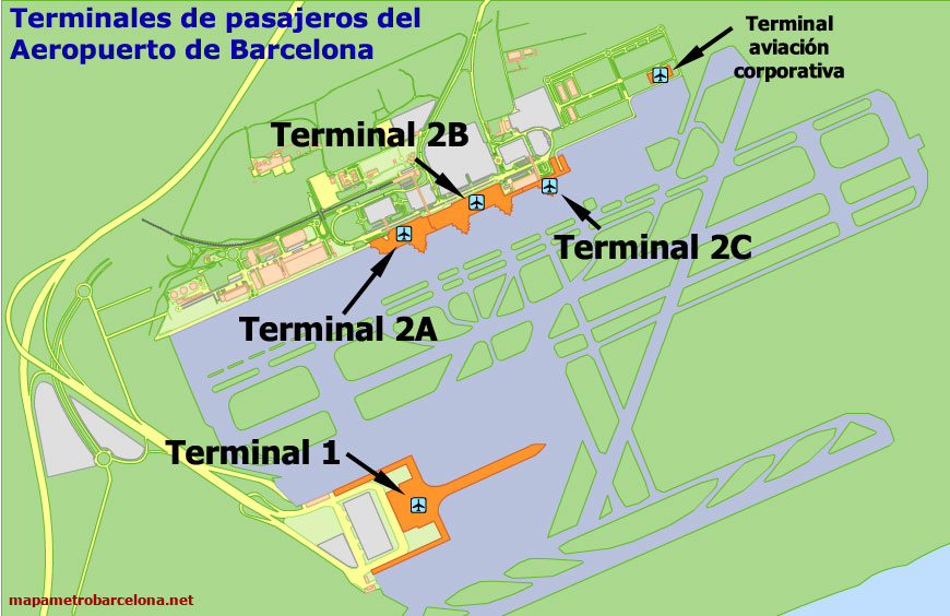 Mapa Terminal 1 Barcelona.Map Of Barcelona Airport Location Directions Terminals Etc