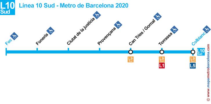 line 10 South Barcelona metro stops map