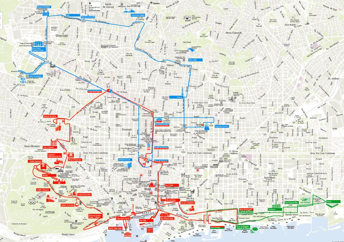 En Map Barcelona Tourist Bus
