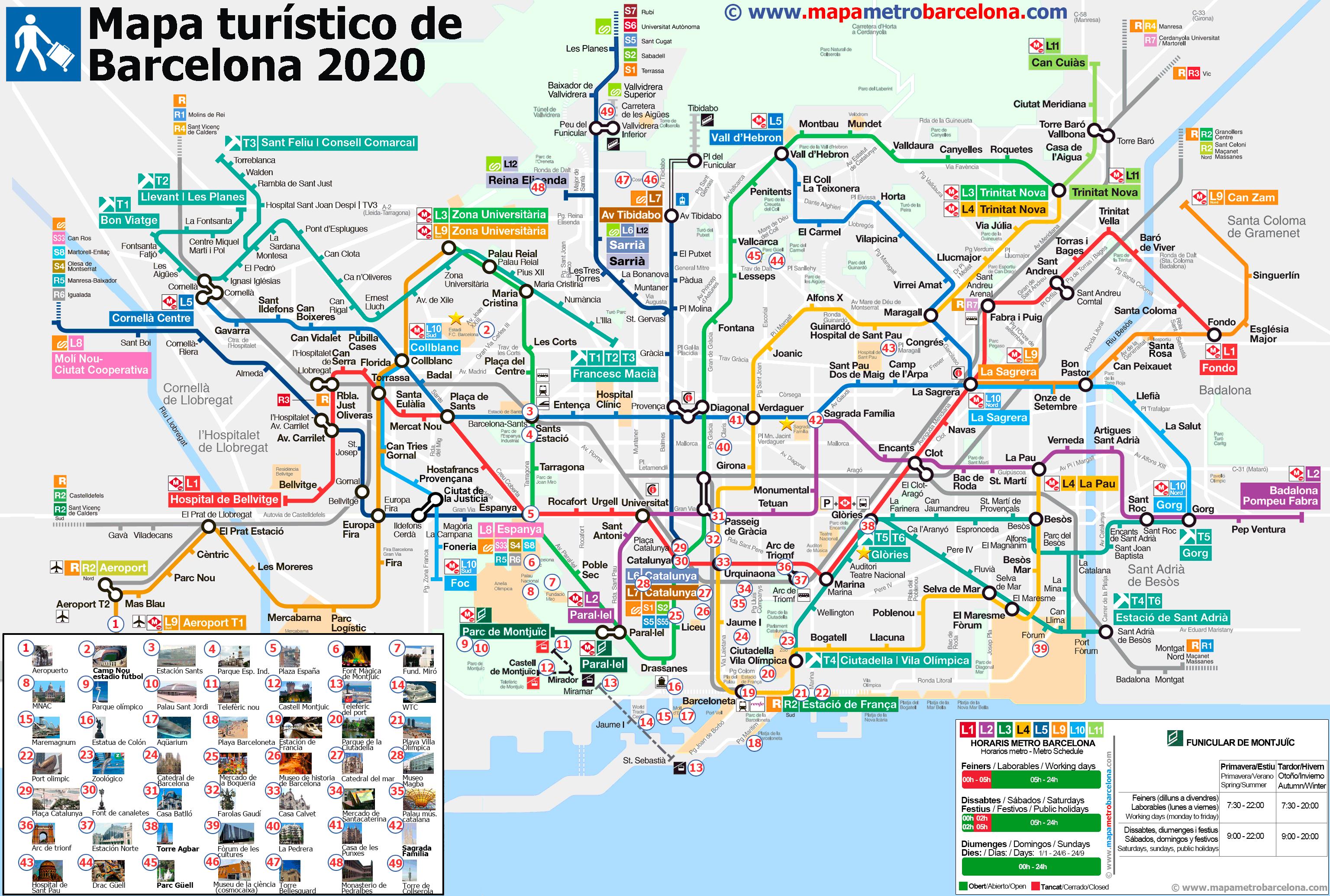 Barcelona En El Mapa.Mapa Turistico De Barcelona 49 Lugares Importantes Para Turistas