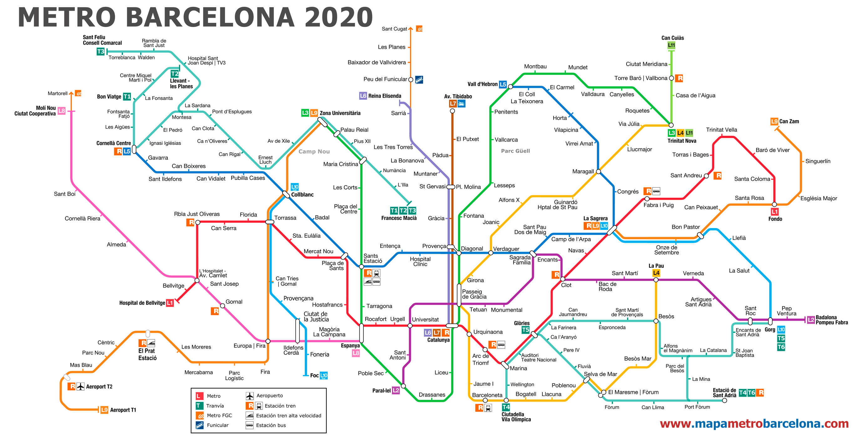 Karta Barcelona Metro.Metro Map Of Barcelona 2019 The Best