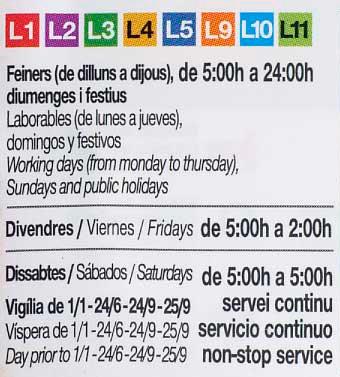 Horario metro barcelona actualizado en gener 2018 for Horario oficina ing barcelona